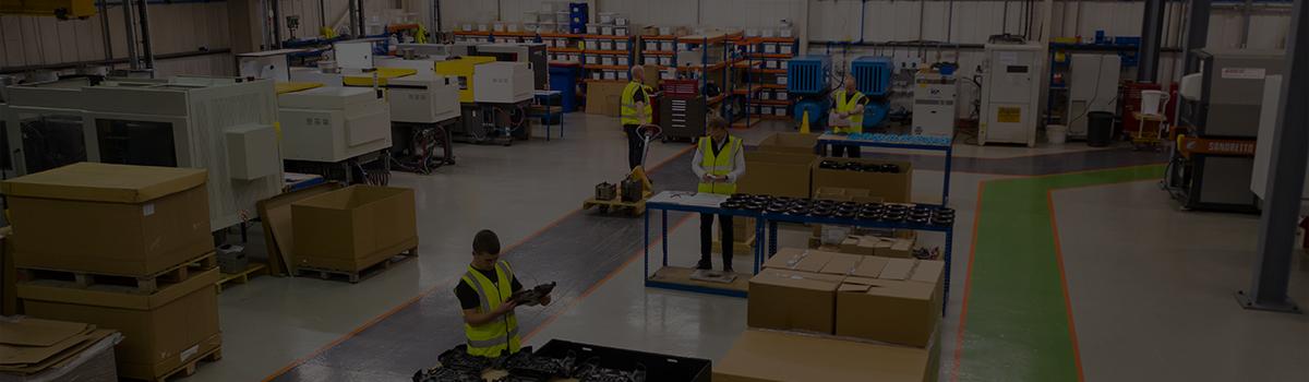 Arial shot of the shop floor at Omega Plastics